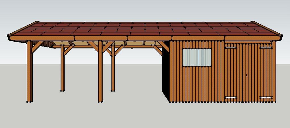 carport 3 x 9 meter mit satteldach und ger teschuppen aus holz zum selber bauen seitenansicht. Black Bedroom Furniture Sets. Home Design Ideas
