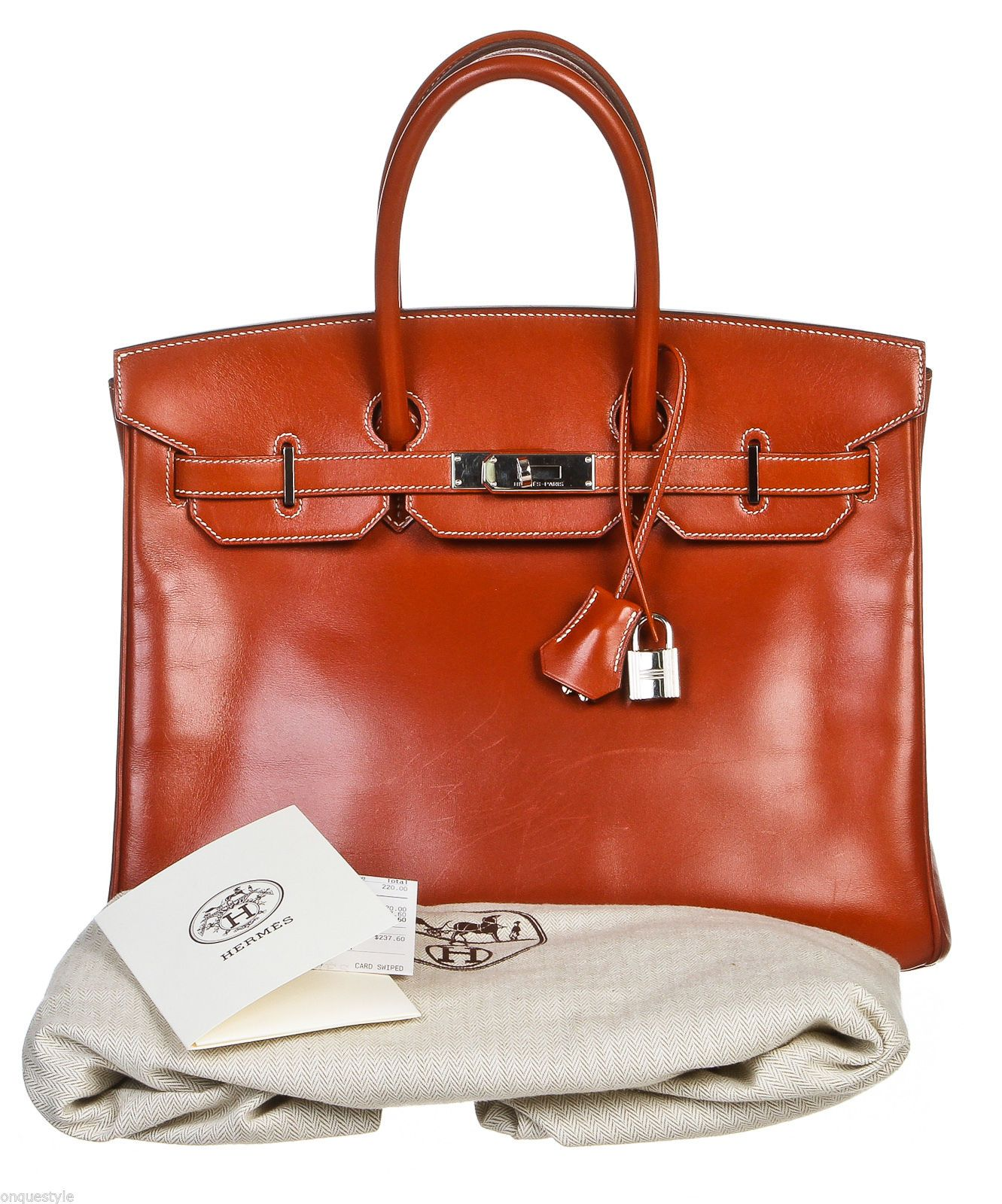 3bff0d26df81c Hermes Brique Box Leather 35cm Birkin Handbag SHW