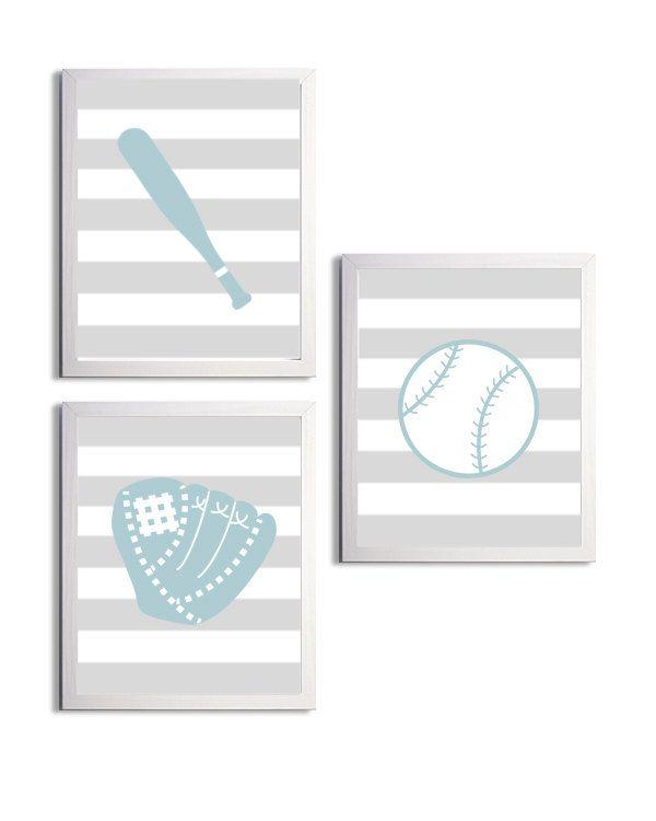 Personalized Nursery Sports Baseball Stripes Boy by ZeppiPrints, $36.00