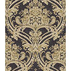 Saint Augustine Black Onyx, Manila Tan, Soft Gray and Gold Glint Baroque Floral Damask Wallpaper