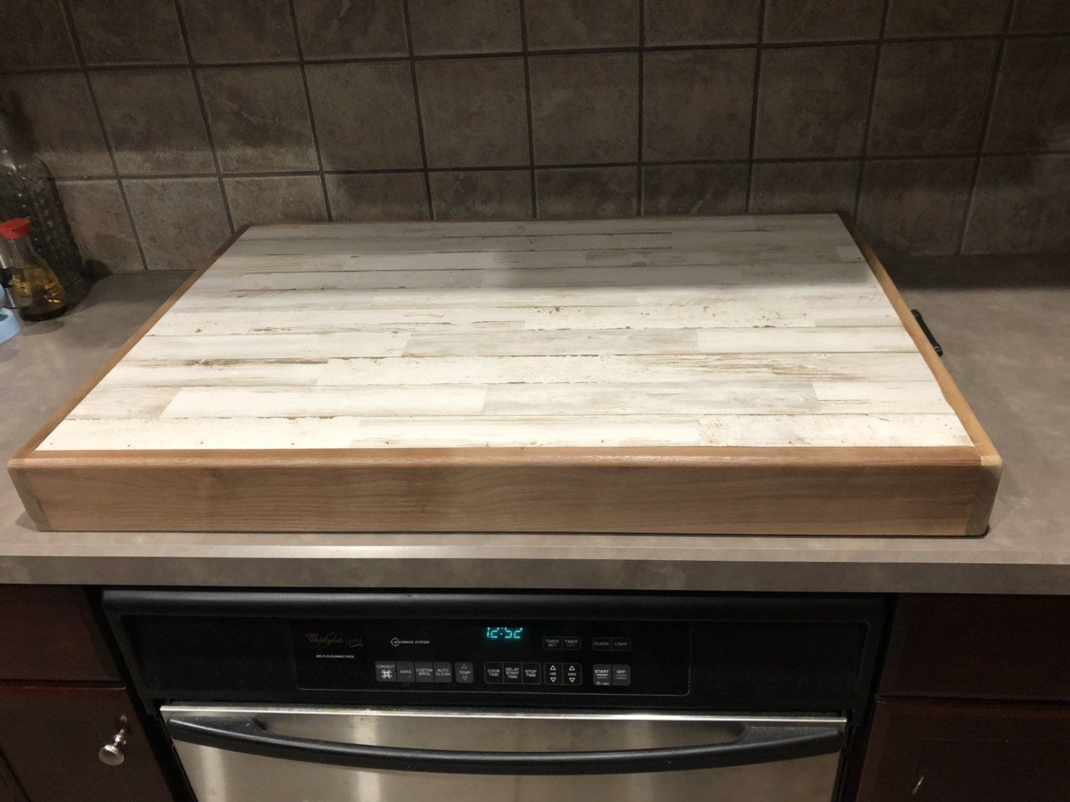 Rustic Wooden Stove Top Cover Counter Extension And Cooktop Etsy In 2020 Wooden Stove Top Covers Stove Cover Stove Top Cover