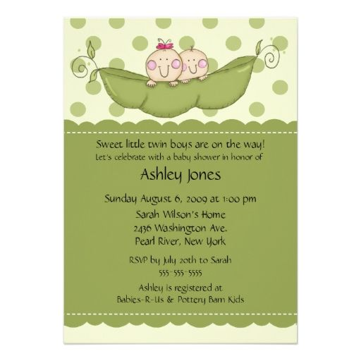Pea Pod Twin Boy and Girl Baby Shower Invitations