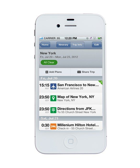 tripit app use to store flight car rental and hotel info in one