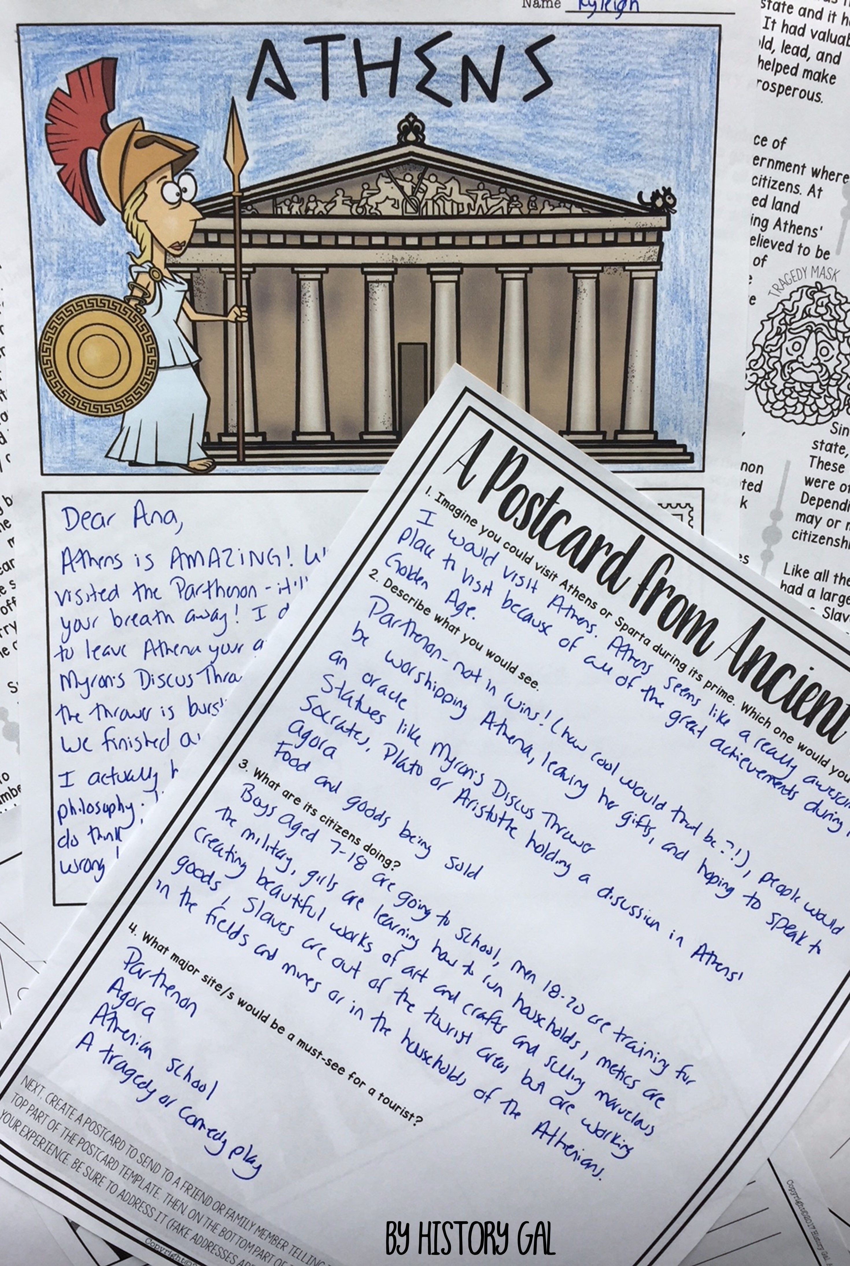 Ancient Greece Postcard Activity For Athens And Sparta