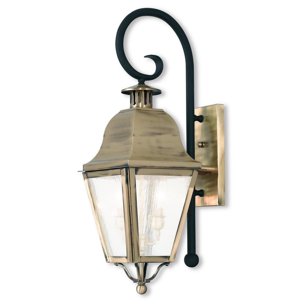Livex Lighting Amwell 2 Light Antique Brass Outdoor Wall Lantern Sconce 2551 01 Wall Lantern Outdoor Wall Lantern Exterior Wall Light