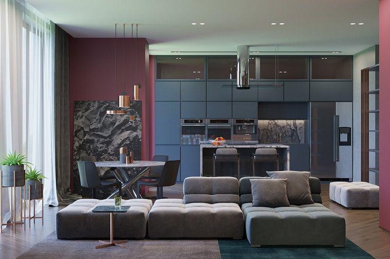 Arredamento soggiorno moderno design con un divano componibile di ...