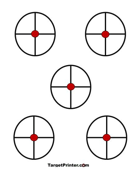 Printable Target 5 Small Crosshair Shooting Range Targets - octagon graph paper