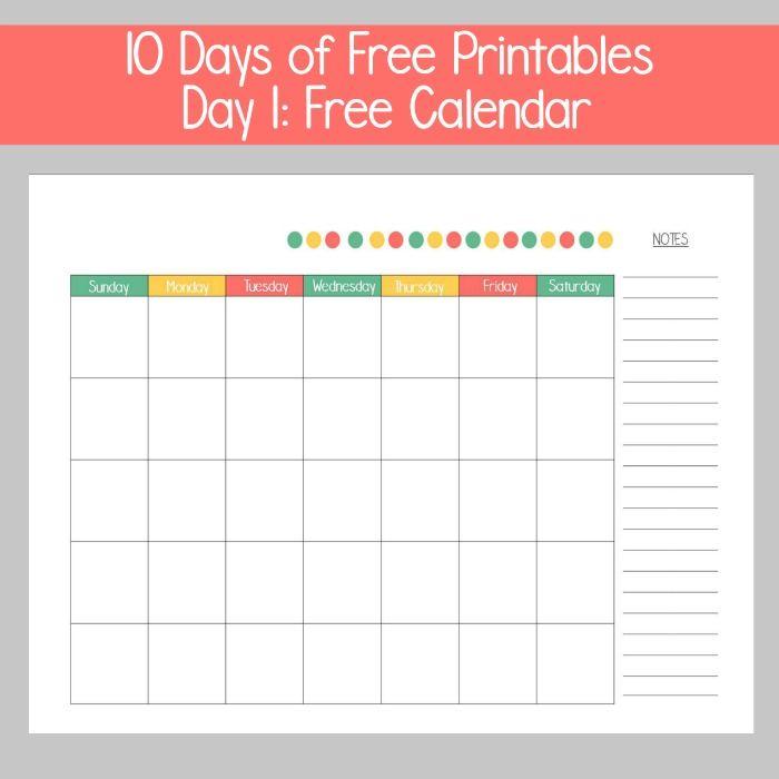 10 Days Of Printables Day 1 Free Calendar Free Calendar