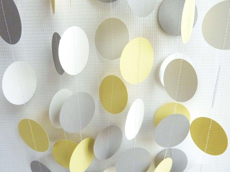 Wedding decorations yellow and gray  Yellow Gray u White Circle Paper Garland Wedding Birthday Baby