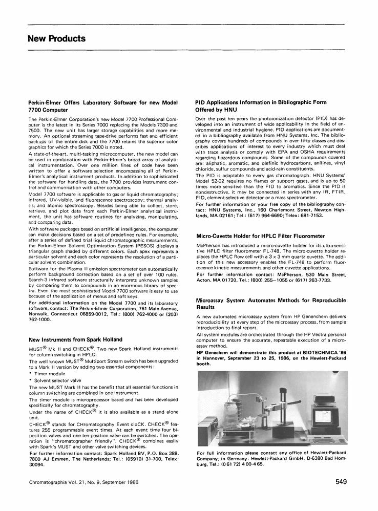 New products Springer System, New model, Perkin elmer