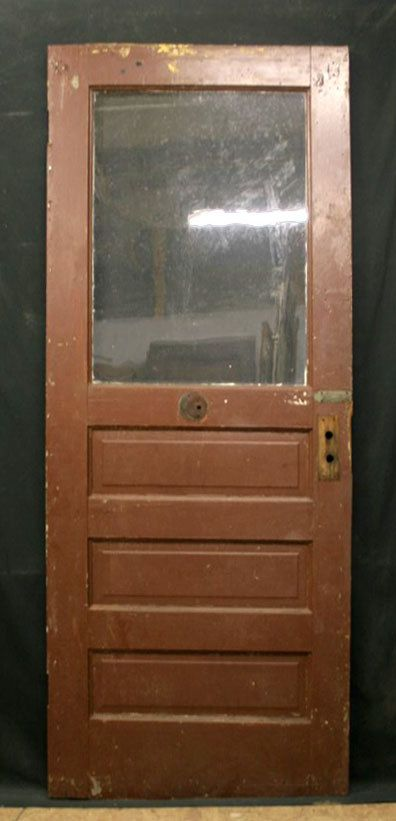 32x79 Antique Pine Wood Exterior Entry Door by PennAntiqueRestore, $99.99