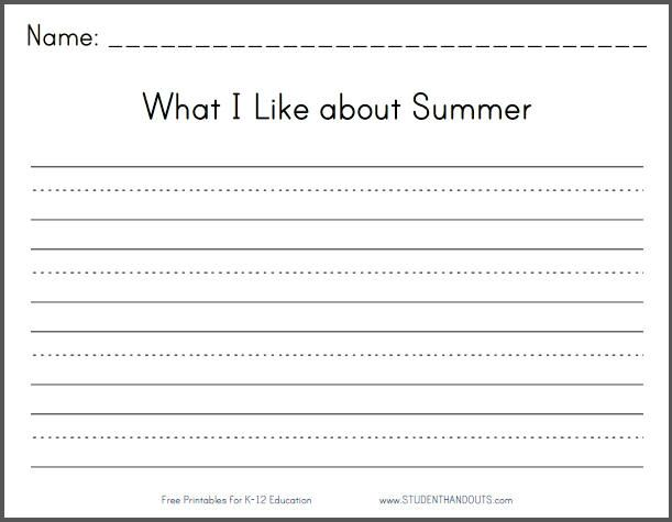 What I Like about Summer Writing Prompt – 2nd Grade Writing Prompts Worksheets