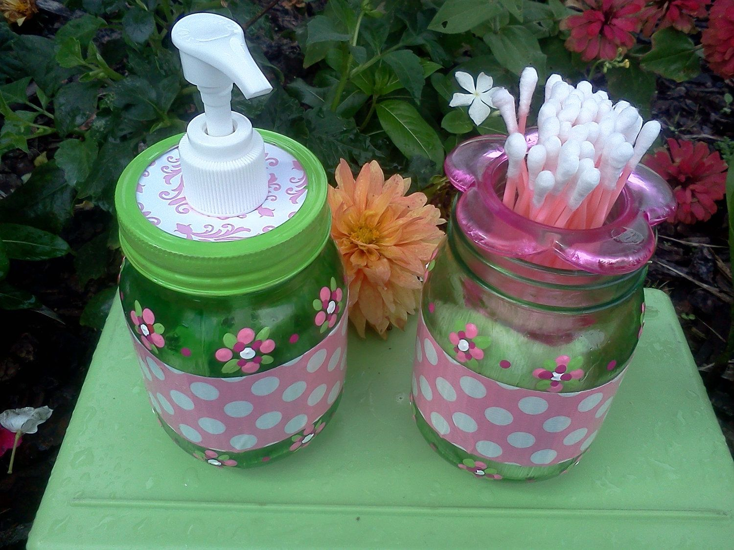 Baby Girl Room Gifts - Hand Sanitizer & Cotton - Q-Tip Jars - Green