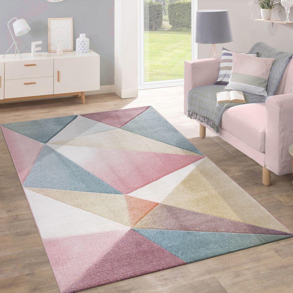 Teppich kurzflor modern trendig pastell geometrisches design inspiration multi teppiche kurzflor teppiche
