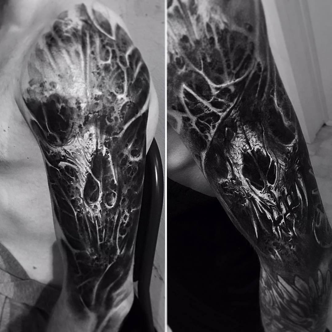 David Jorquera Biomechanical tattoo, Bio organic tattoo