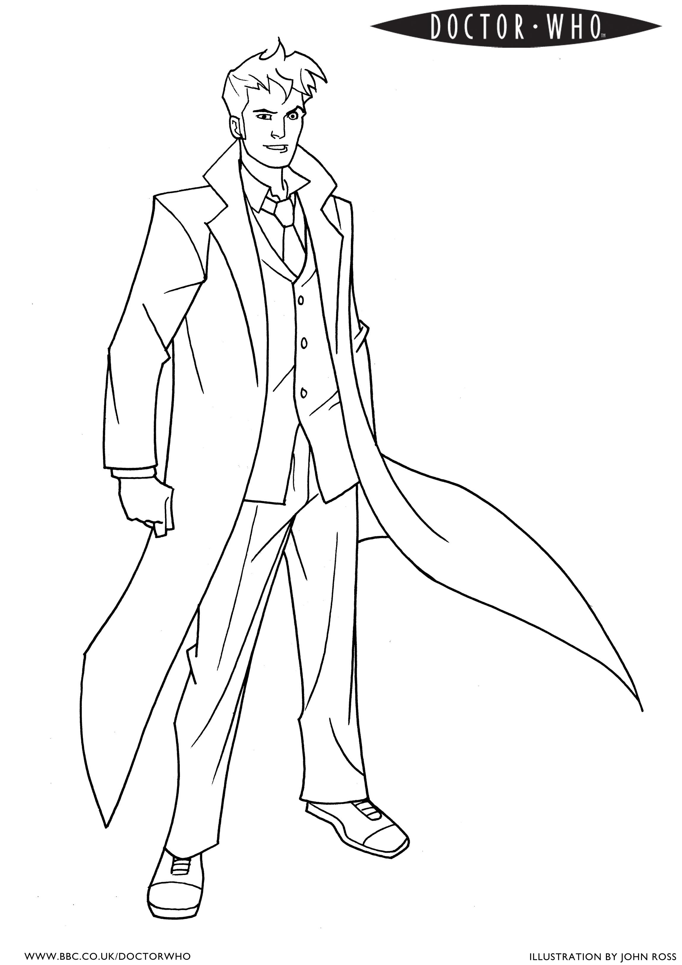 Coloring pages for doctors - An Official Bbc David Tennant Coloring Page 3
