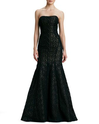 MOB Strapless Embroidered Trumpet Gown by ML Monique Lhuillier at Neiman Marcus.