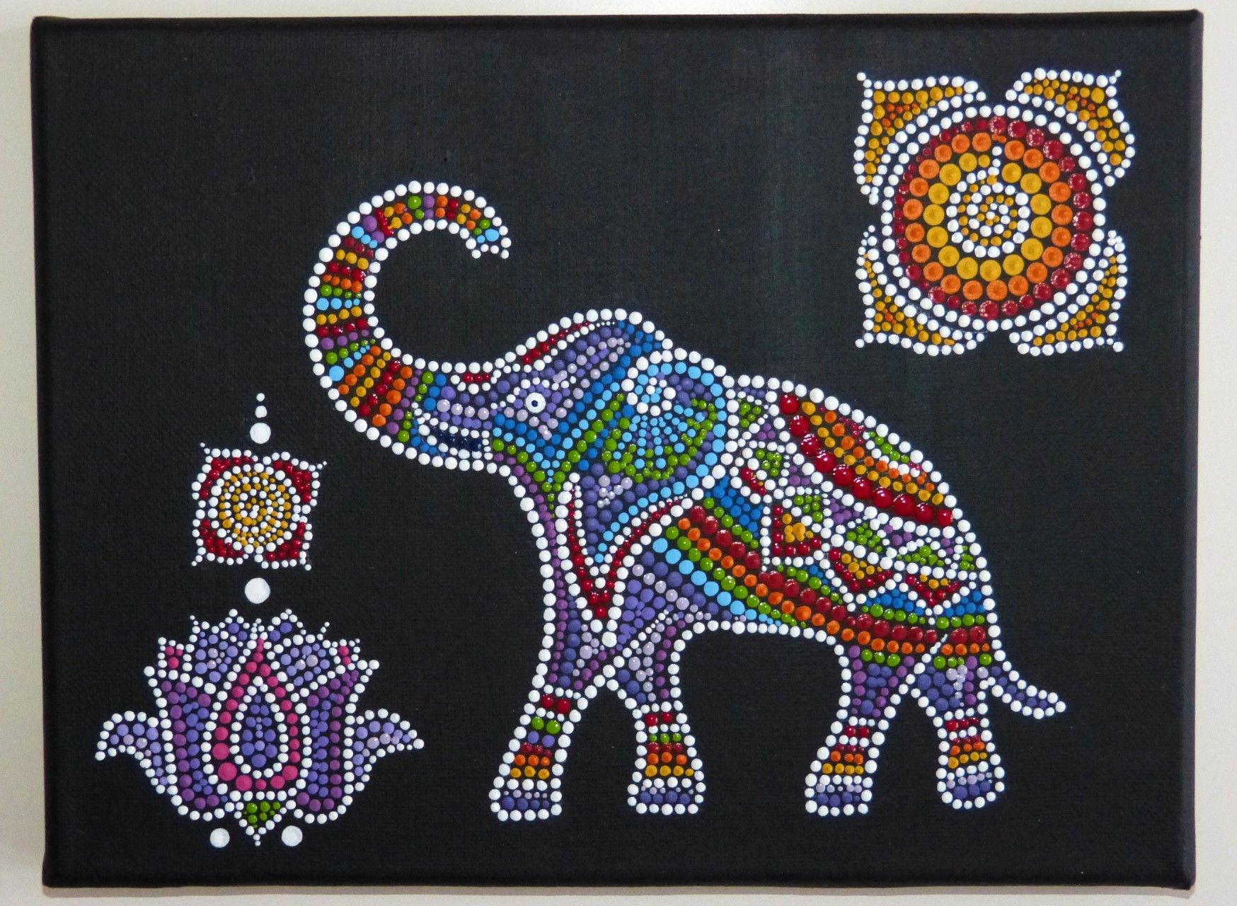 Elephant Dot Painting By Melindaart Dot Painting Elephant Painting Canvas Dot Art Painting