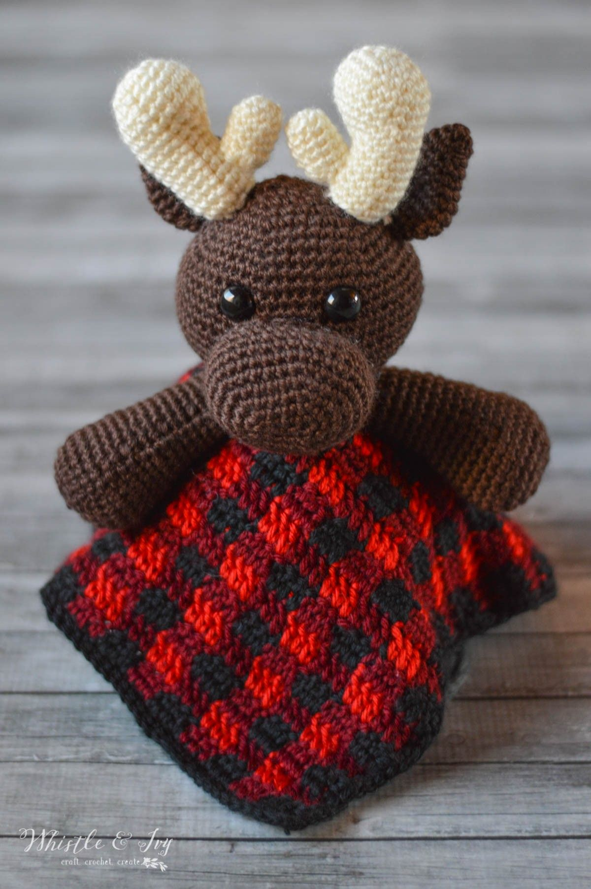 Plaid Moose Lovey - whistle and ivy Knit Crochet d804c91a1a12
