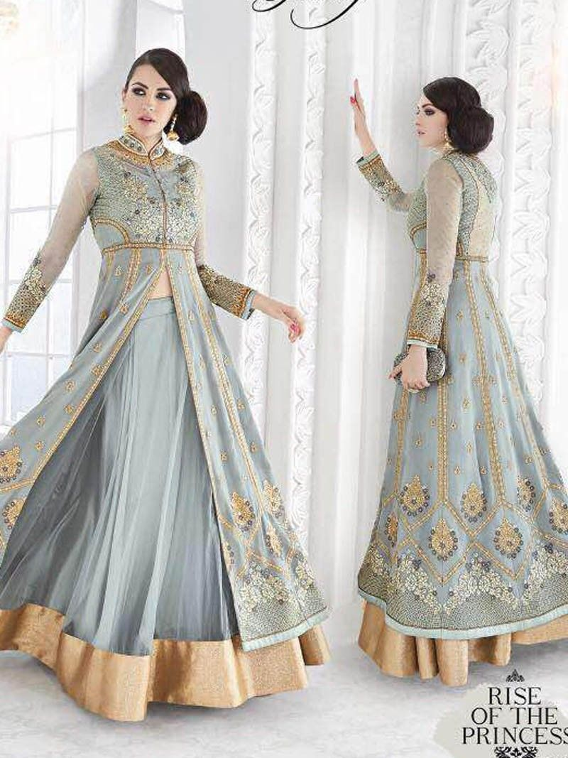 721bcfd28f6 Grey Color Indian Ethnic Designer Bollywood Party Wear Anarkali Lehenga  Dress