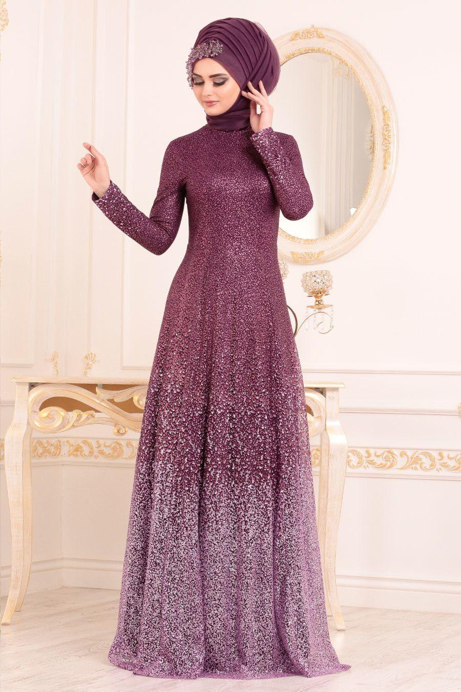 Tesetturlu Abiye Elbise Simli Murdum Tesettur Abiye Elbise 2081mu Tesetturisland Com In 2020 Muslim Fashion Dress Stylish Dress Designs Muslimah Fashion Outfits