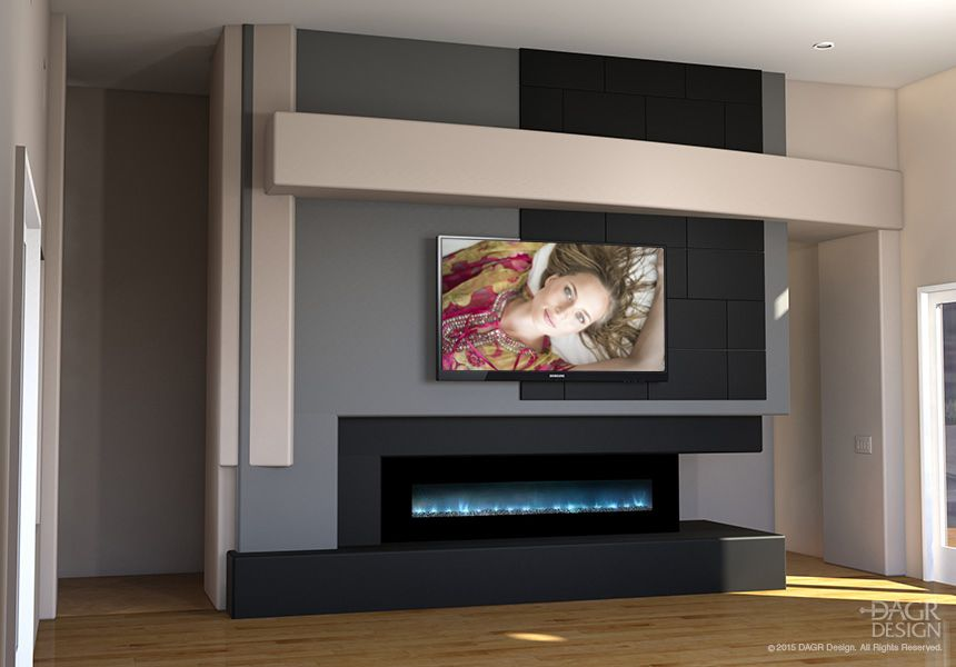 Modern Home Entertainment Media Wall Design With Contemporary Fireplace By  DAGR Design Worked With These Guy