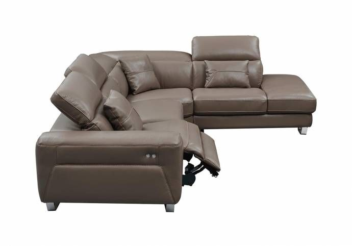 Surprising Esf 468 Brown Top Grain Leather Electric Recliner Sectional Evergreenethics Interior Chair Design Evergreenethicsorg