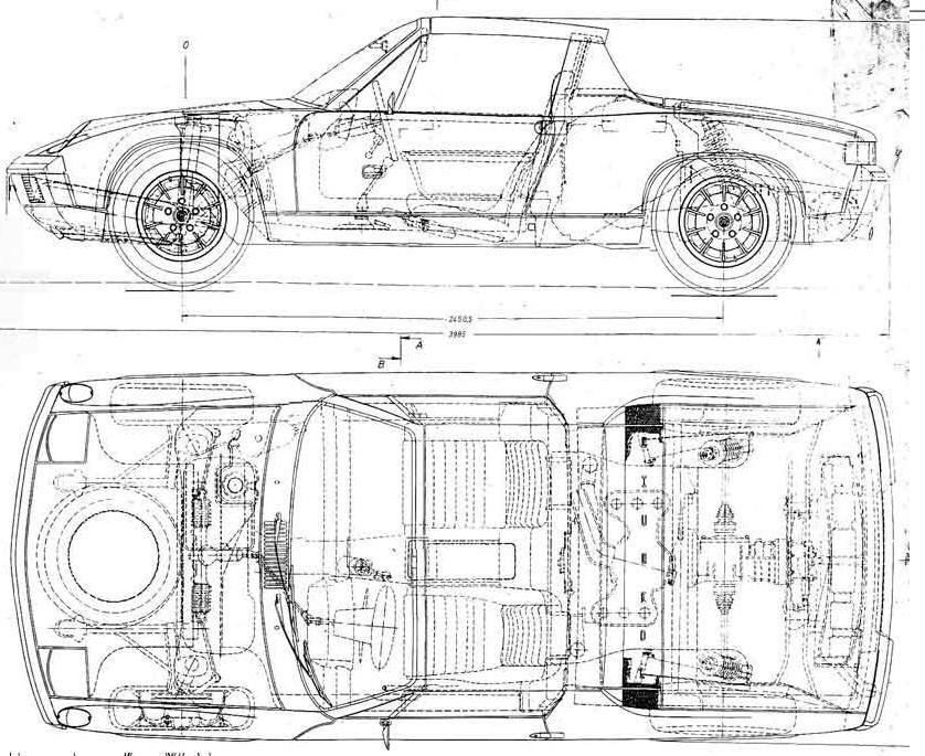 Porsche 914 blueprint | Automobiles | Pinterest | Auto Zeichnungen ...