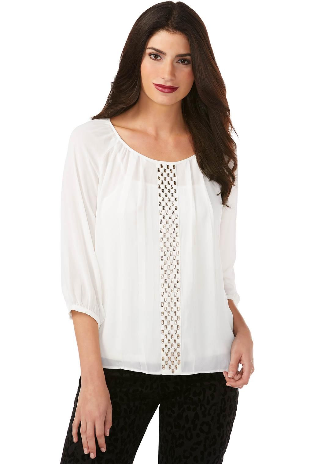 f303d7a0f2a Embellished Panel Peasant Top-Plus Tops Cato Fashions
