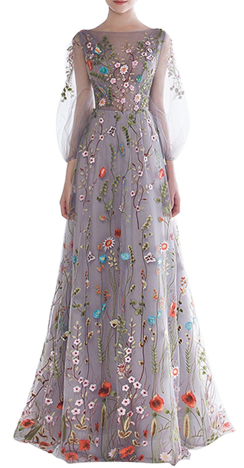 Ethel Womens A line Two Pieces Long Evening Dresses with Short Sleeves