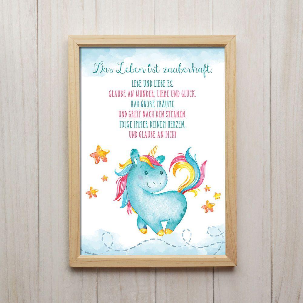 Beautiful Bild Das Leben Ist Zauberhaft Kunstdruck A Einhorn Spruch Kinderzimmer Deko