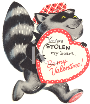 """Cute old vintage Valentine card of a racoon stealing a heart: """"You've stolen my heart, Be my Valenting!"""""""
