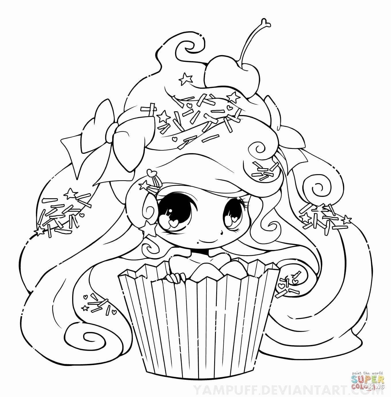 Anime Animals Coloring Pages Lovely Chibi Cupcake Girl Coloring