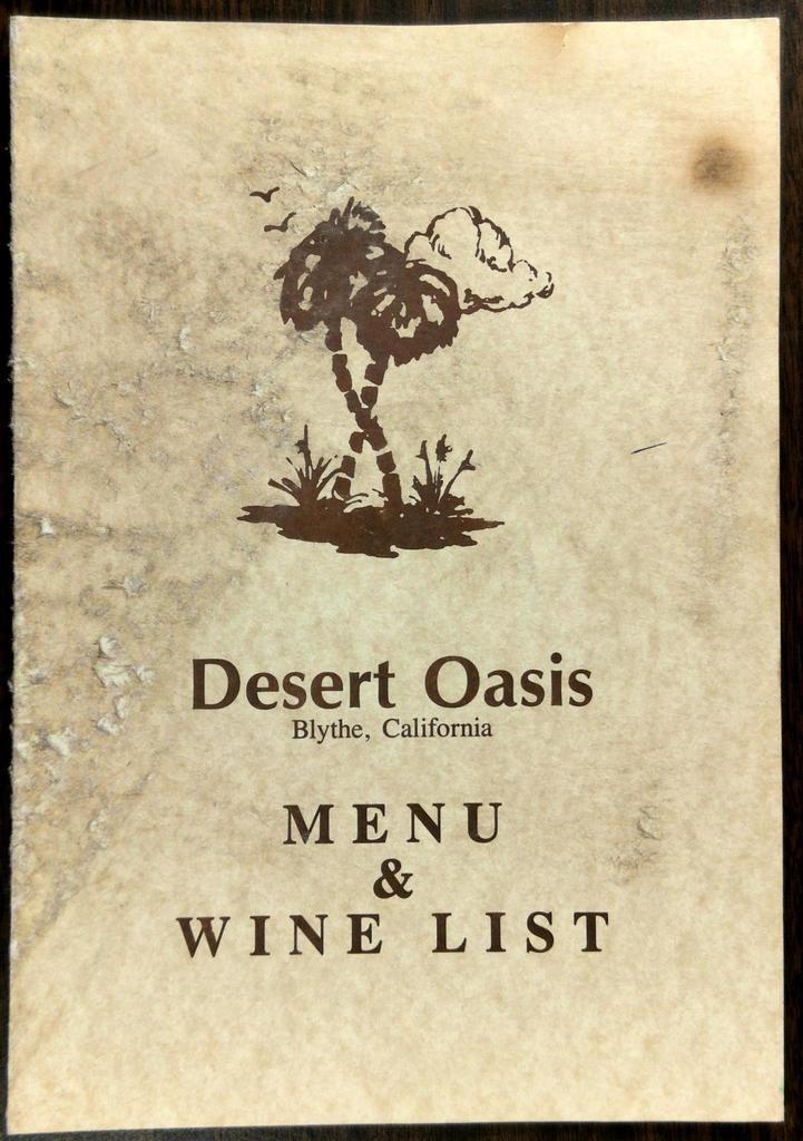 1980's Original Dinner Menu Wine List DESERT OASIS