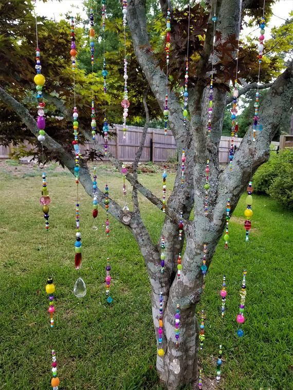 Bead Sun Catcher, Bohemian Decor, Boho Porch, Tree Swag, Tree Jewels, Garden Art, Garden Deco...