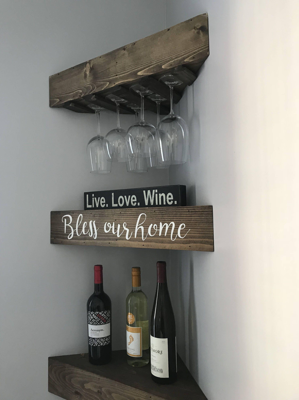 Rustic Wood Wine Rack Wine Rack Corner Wine Rack Floating Wine