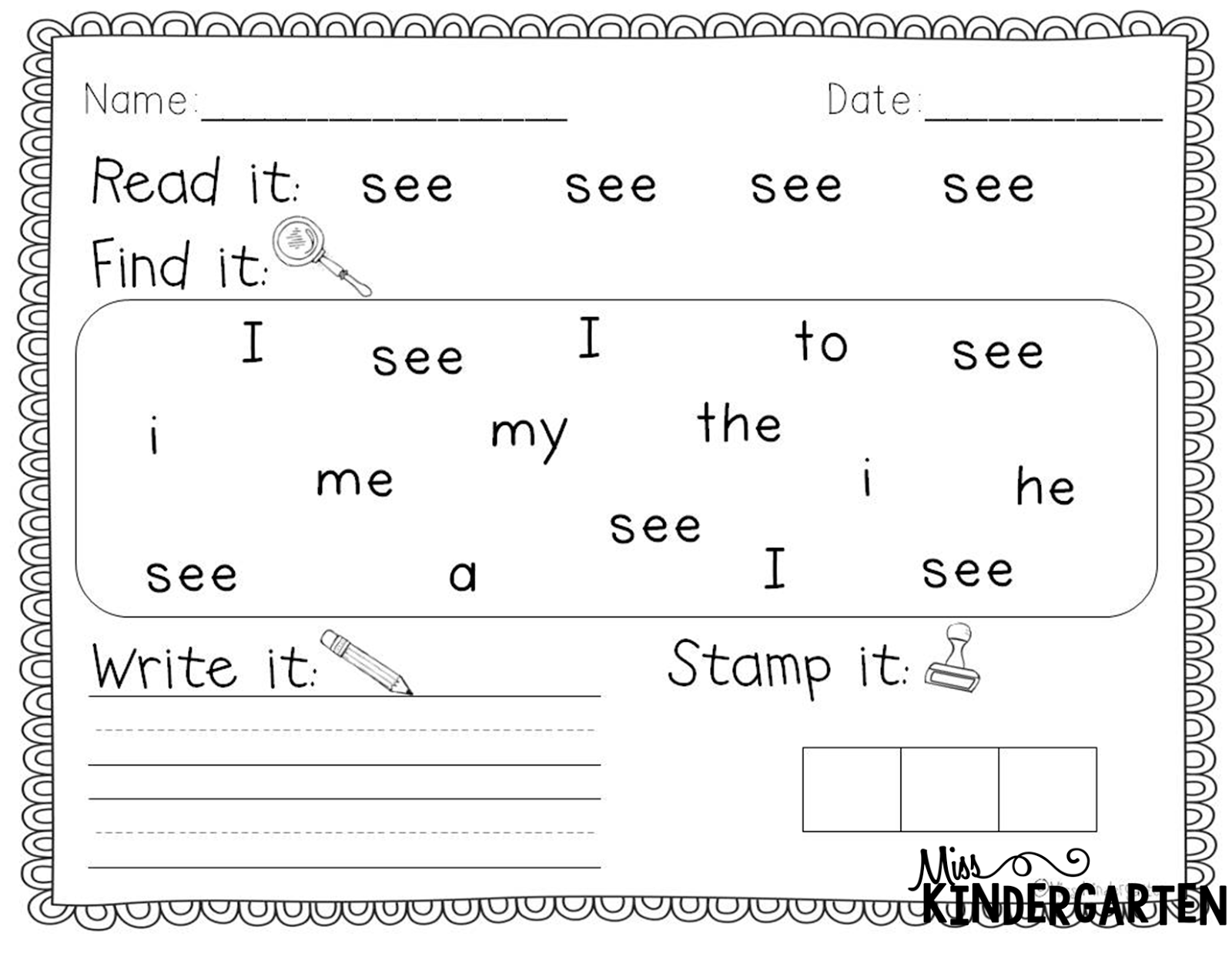 Sight Word Practice Miss Kindergarten – Tracing Sight Words Worksheets Kindergarten