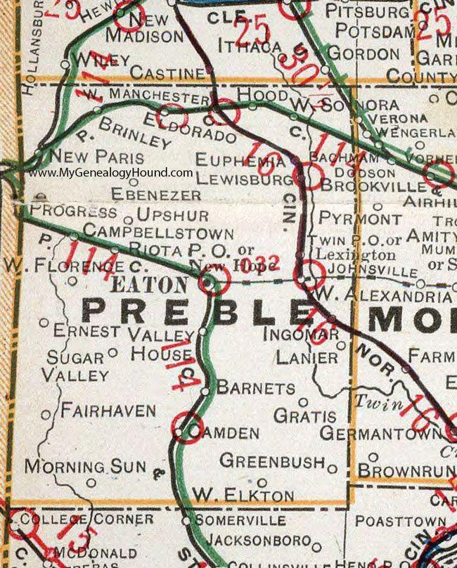 Preble County Ohio 1901 Map Eaton Camden West