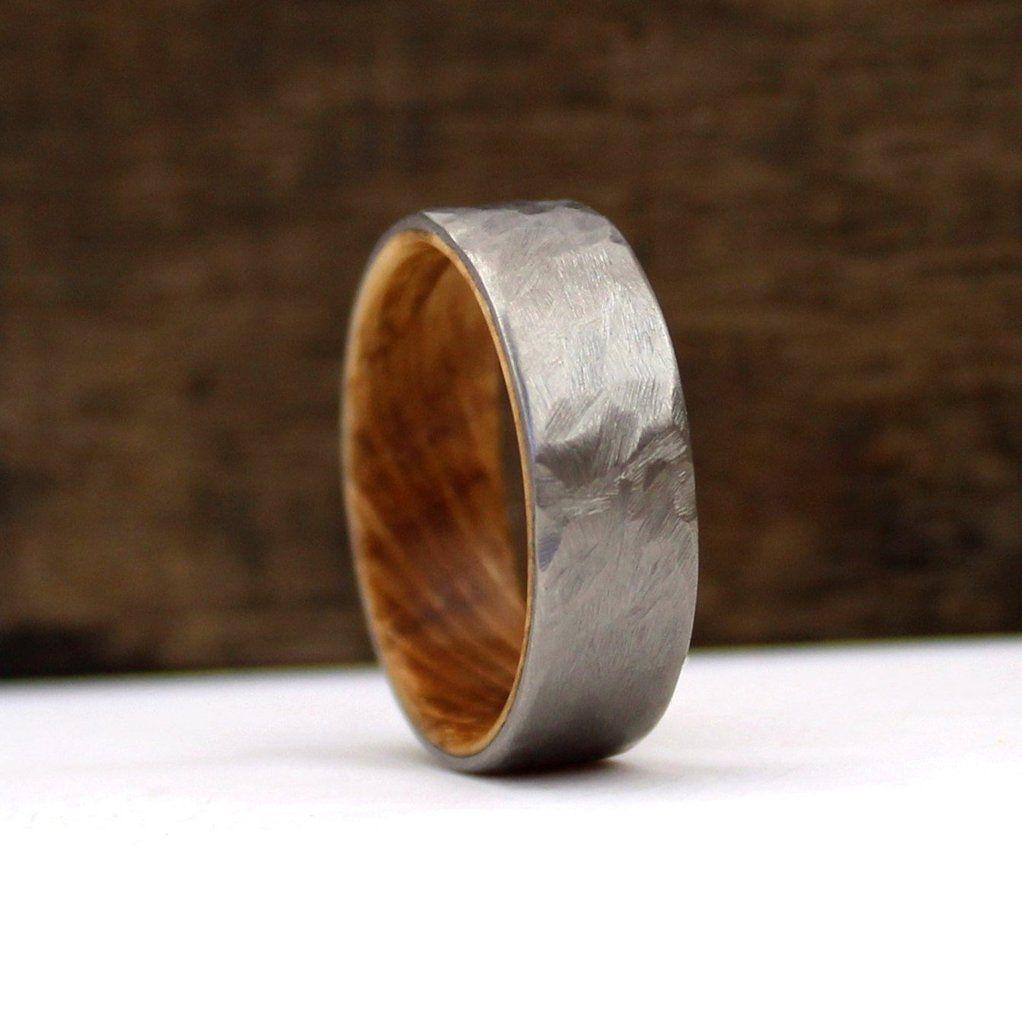 Whiskey Wood Ring Jack Daniel S Ring Whiskey Barrel Ring Titanium Ring Hammered Ring Whis Titanium Wedding Rings Cool Wedding Rings Handmade Wedding Rings