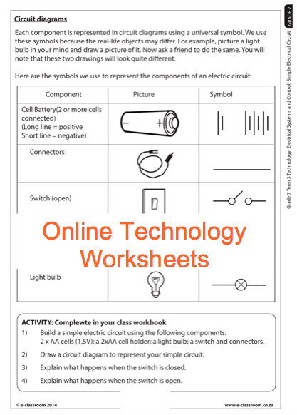 Grade 7 Online Technology Worksheets  Circuit Diagram  For More Worksheets Visit  E
