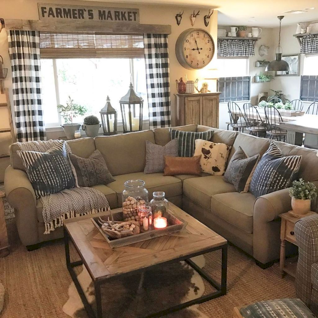 Gorgeous 35 Cozy Rustic Farmhouse Living Room Decor Ideas ...