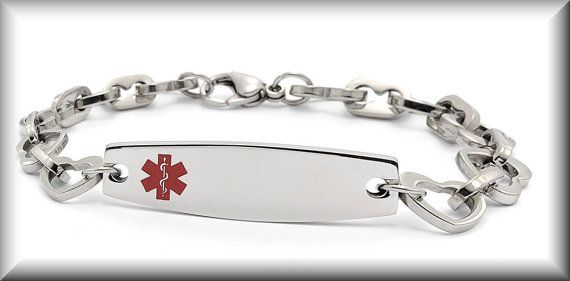 Stainless Steel Heart Link With Medical ID, i must have this