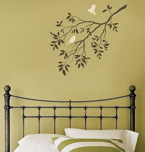 Reusable Wall Stencils. Birds on a Branch. Beautiful wall designs by ...