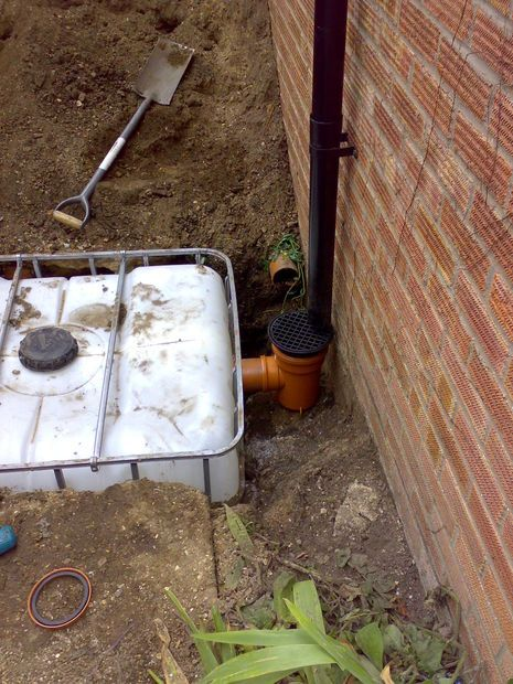 Underground Rainwater Storage In An Ibc With Pumped Supply Rainwater Rain Water Tank Rain Water Collection