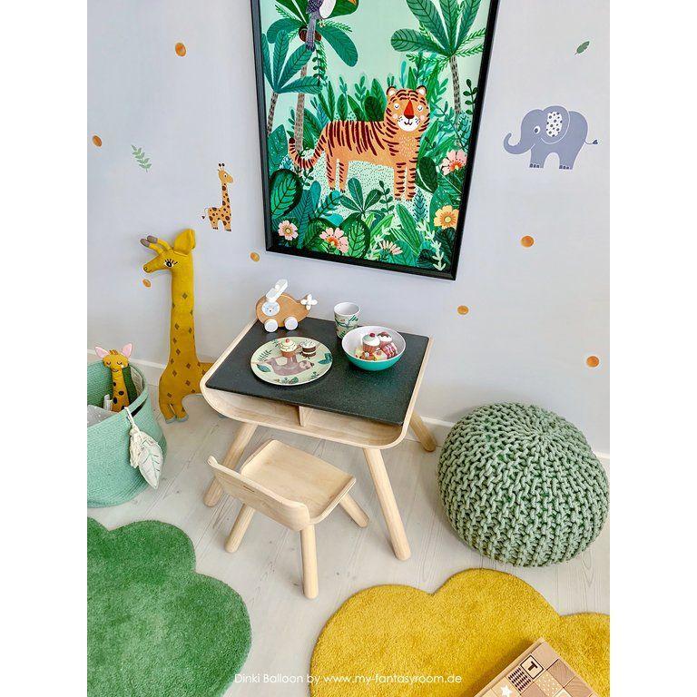 Kinderzimmer Wandsticker Safari gelb/grün/grau 76teilig