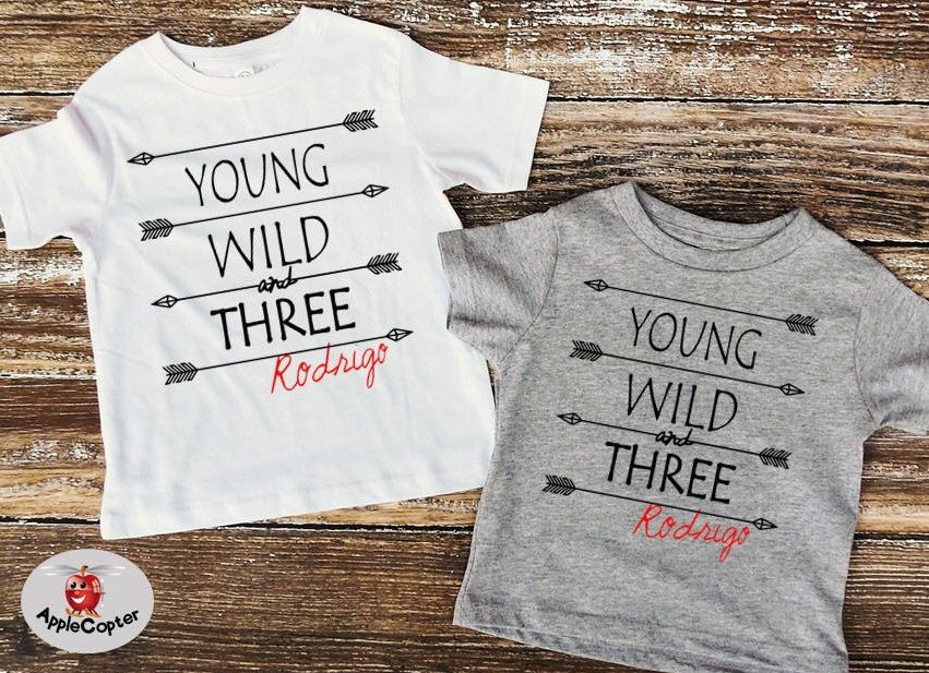 Young Wild And Three Boys Birthday Shirt PERSONALIZED 3rd 3 Year