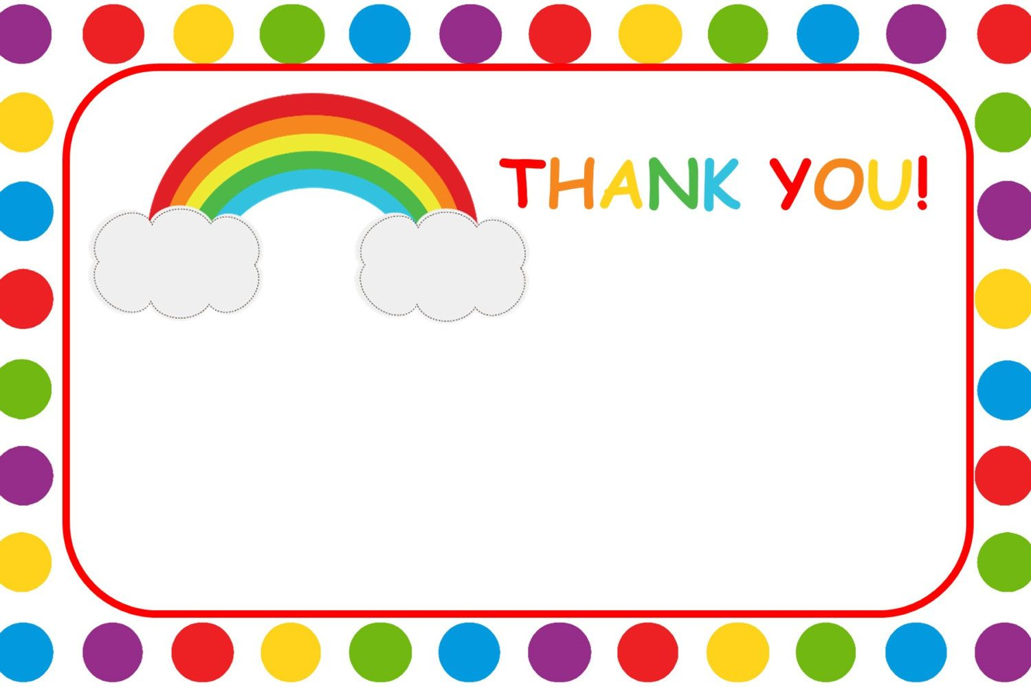 Rainbow Thank You Card - Printable by CraftyCue on Etsy ...