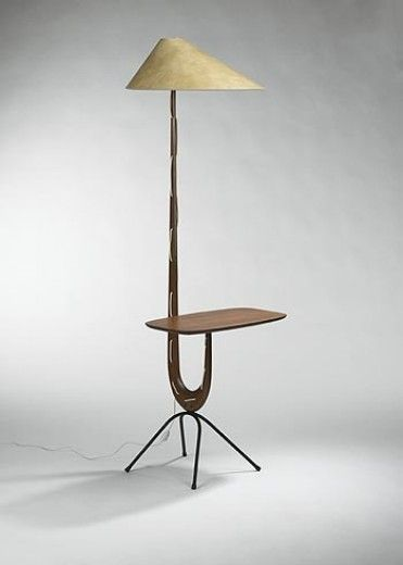 Rispal Floor Lamp With Attached Table France 1950s Floor Lamp Design Decorative Floor Lamps Sculptural Furniture