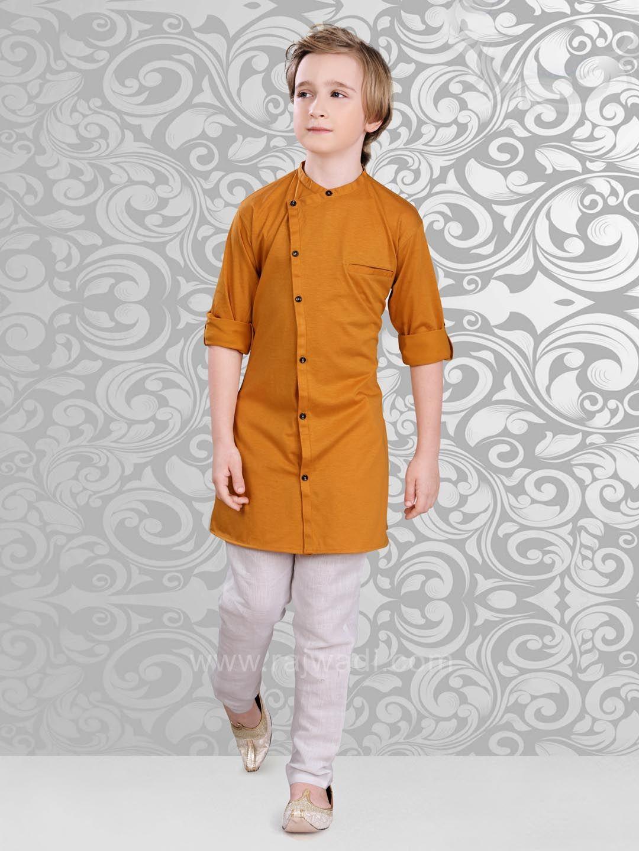 2758e4c5 Plain Goldenrod Color Kurta Pajama Set | Kurta Boy | Boys kurta ...