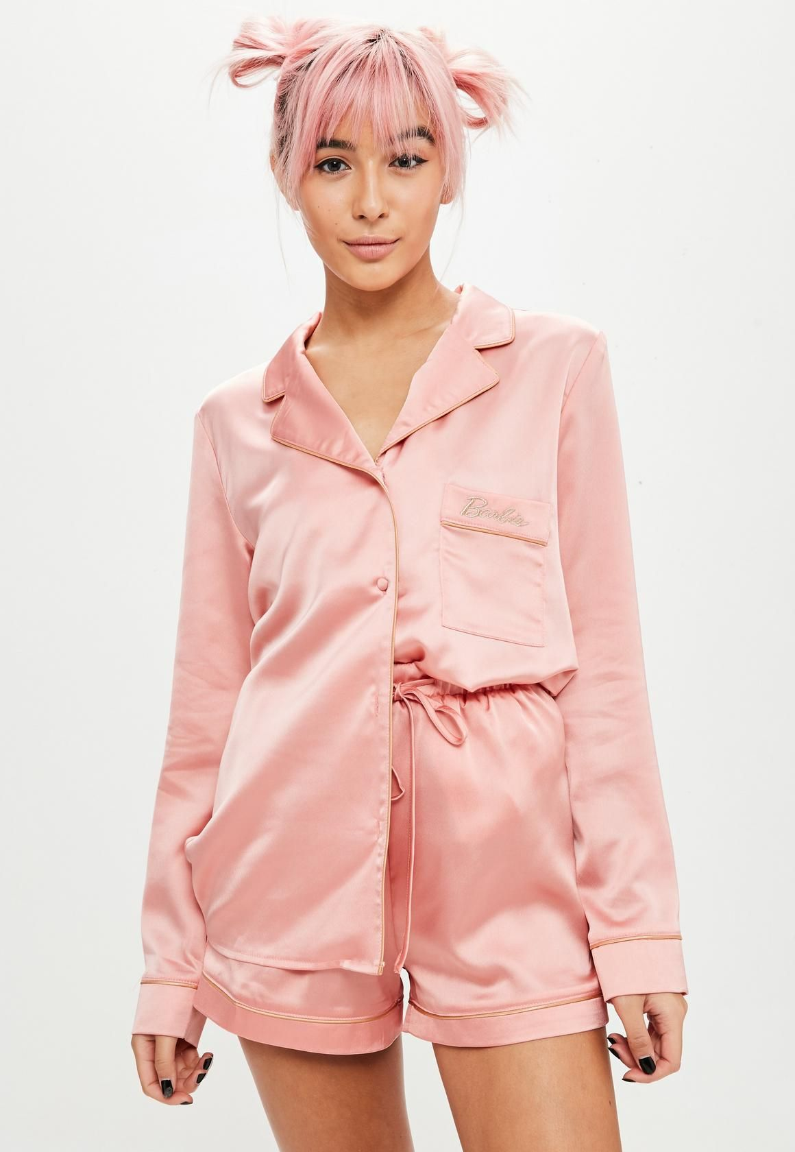 e157237853 Barbie x Missguided Pink Long Sleeve Satin Pajamas Set in 2019 ...